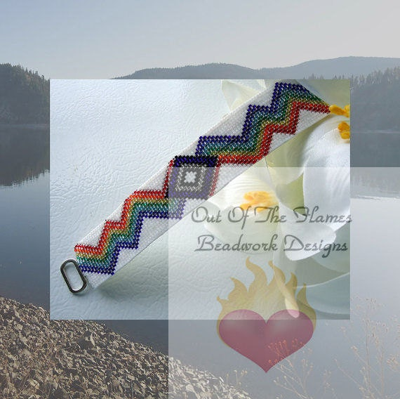 Rainbow Bolt -- Native American Beaded Cuff Bracelet
