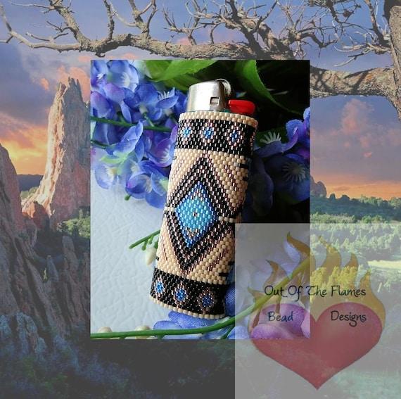 Bead PATTERN Southwestern Lighter Cover Peyote or Brick stitch