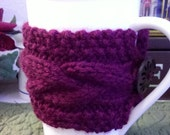 Cup Cozy - Hand Knitted Reusable Coffee Sleeve - Burgundy, maroon cup cosy
