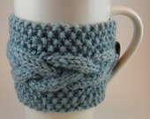 Cup Cozy - Hand Knitted Reusable Coffee Sleeve - Light Blue - Braid pattern