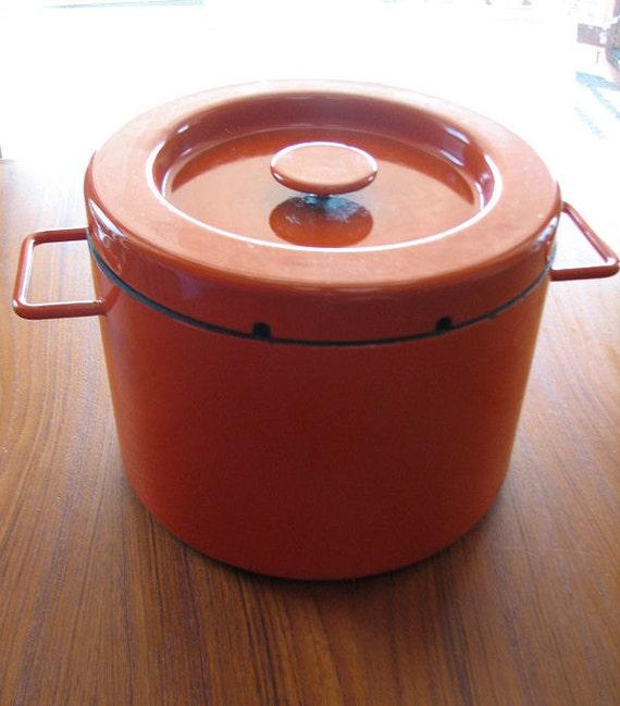 ON SALE Michael Lax for Copco Stockpot Fryer - 1960s Mod - Orange Enamel on Steel