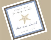 24 Square Starfish Personalized Gift Tag Sticker for Your Beach Wedding