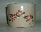 Vintage Ransbottom Pottery Jar Crock with hand painted Flowers , Signed by Artist