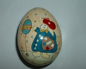 Vintage Egg Shaped Paper Mache Box  with Rabbit Artist