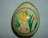 On SALE until Easter .Vintage Paper Mache Egg Shaped Box with Chick