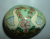 On SALE until Easter .Vintage Paper Mache Egg Shaped Box with 2 Ducks