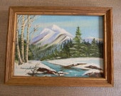 Campbell . Vintage Small Oil Painting Winter Landscape
