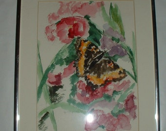 Jane Whipple . Vintage Original Watercolor Butterfly Painting