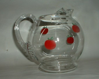 Vintage Juice Pitcher with Hand Painted Tomatos