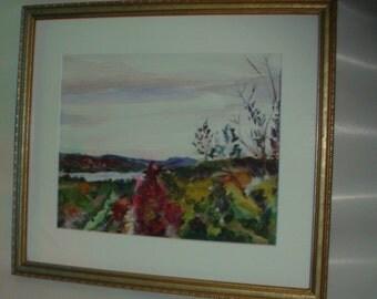 Vintage Watercolor Painting . Lake George Landscape .. Excellent