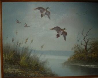 Signed . Vintage Original Wildlife Ducks Oil Painting