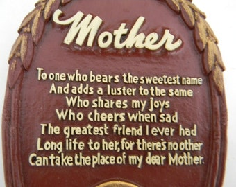 """Vintage """"Mother"""" Wall Plaque"""