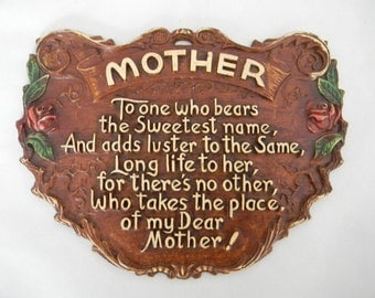 "Vintage ""Mother"" Wall hanging"