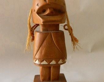 """Vintage Folk Art Wood Carving 6"""" Tall Doll Figure"""
