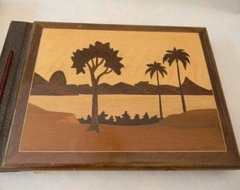 Vintage Unused Scrapbook with Wood Inlay Cover