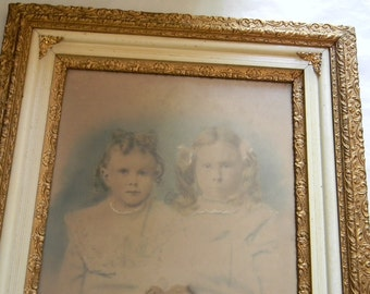 """Vintage Antique Hand Colored Photograph in 28 3/8"""" x 24 3/8"""" Wood Frame"""