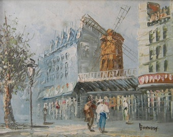 Burnett . Vintage Oil on Canvas Paris Cityscape Painting