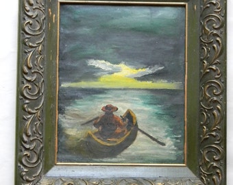 Vintage Oil on Canvas Row Boat Seascape