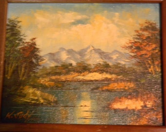 K Judy . Vintage Oil Painting Landscape Mountain Lake Scene
