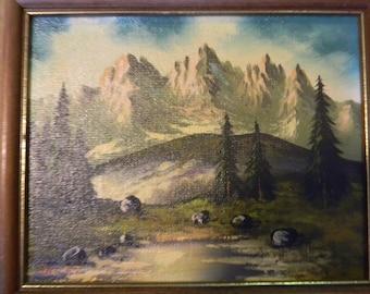 Signed . Vintage Oil Painting Landscape Mountain Scene