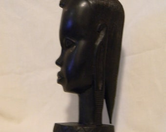 Vintage Wood Carved Sculpture Bust Carving