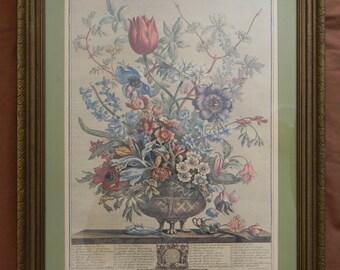 """Vintage Framed """" February"""" Fletcher Engraving"""