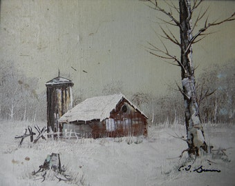 Vintage Oil painting Barn in Winter . signed