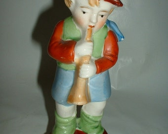 Vintage Porcelain Figurine  Child Playing Musical Instrument