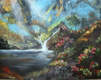 Vintage signed large Oil painting on Canvas Unframed Landscape Mountains Water