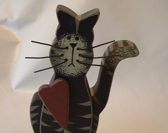 Vintage Cute Wooden Kitty Cat Figurine ... You Need ONE More