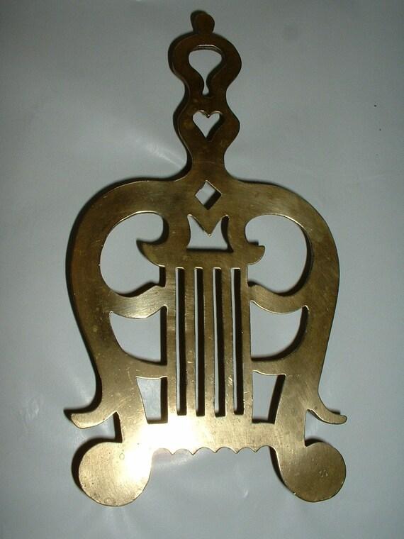 Vintage Older Brass Large Trivet Musical Lyre Shaped