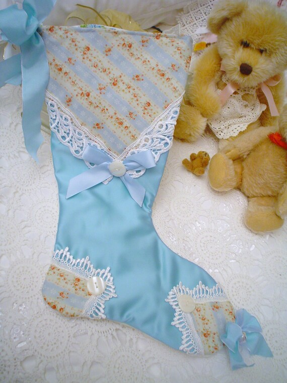 Victorian Venice lace Blue Mary Rose roses Satin Hand M Chic Christmas stocking