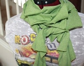 Spring Green Ruffled Scarf RESERVED for Kelly