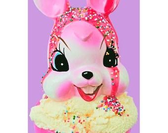 bunny print ice cream sundae 5 x 7 BUNILLA ICE CREAM