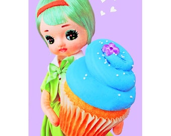 cupcake doll print 5 x 7 CONFECTION AFFECTION