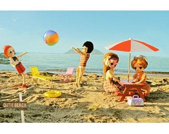 doll beach print 8 x 12 CUTIE BEACH
