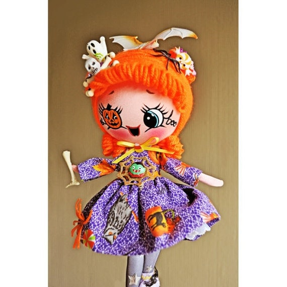halloween doll 12 inch poseable plush This is Tricksie CUSTOM ORDER for ALEXANDRIA
