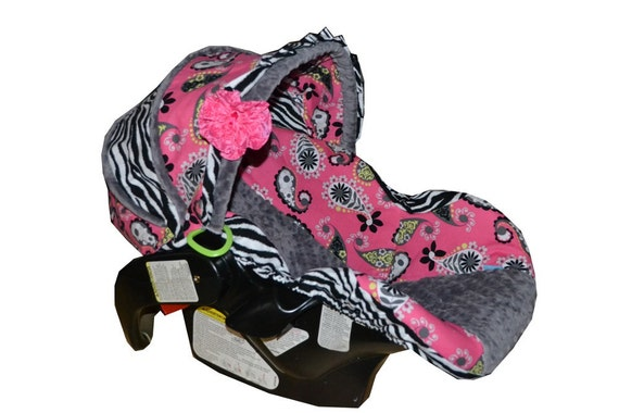 zebra and hot pink paisley car seat cover ready to by sassystork. Black Bedroom Furniture Sets. Home Design Ideas