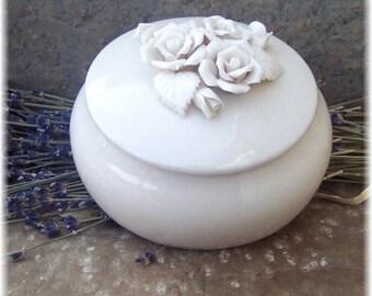 Ceramic Vanity Jar with Handmade Natural Body Powder and Powder Puff