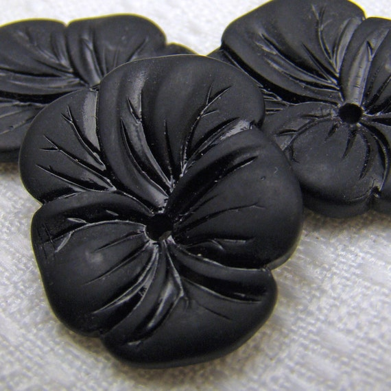 Black pansy beads, vintage repro German center hole opaque glass flowers 25 mm, 3 pcs
