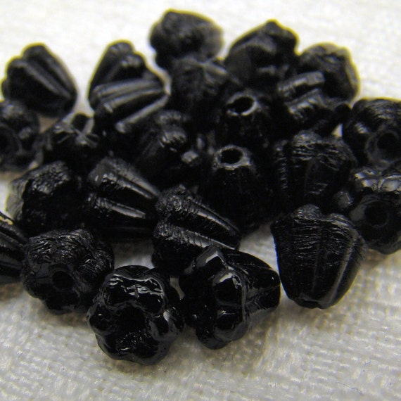 Vintage glass beads beadcaps black German small flower beads, 24 pcs