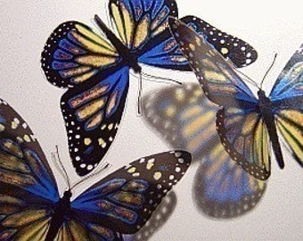 10x 3D Butterflies - ZINGARCH - Blue and Yellow, Wall Decor, Bathroom, Bedroom, Mirror, Kids Room, Nursery, Baby, Gift, Mother's Day,