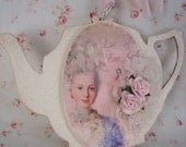 Marie Antoinette Tea Pot Ornament with pink roses Shabby white