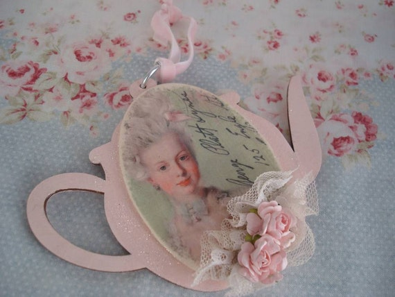 Marie Antoinette Tea Pot Ornament with pink roses Shabby Pink