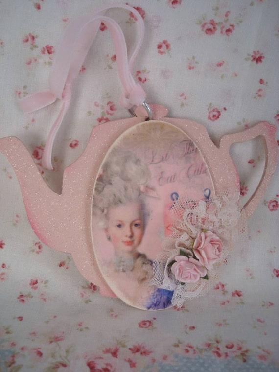 Marie Antoinette Tea Pot Ornament Let Them Eat Cake
