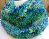 Cowl or Neckwarmer Hand Knit HandSpun Art blue and green great gift Surf's Up Ready to Ship