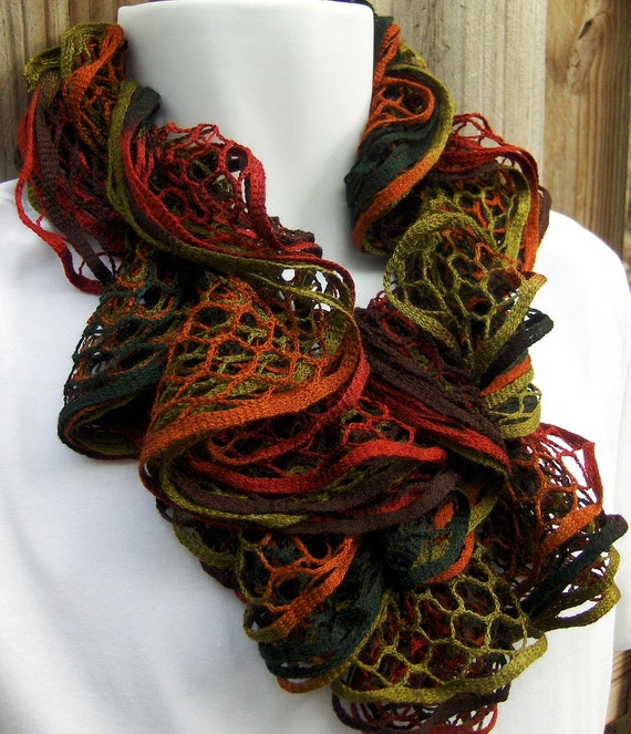 Endless Ruffle Infinity Scarf hand knit Autumn Night Ready to Ship great gift Ships Free in the USA