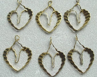 6 Vintage Open Heart Charms, Lightweight Brass with Design