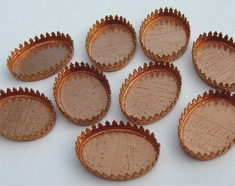 10 Vintage Copper Plated Brass Bezels, 18mm x 25mm Oval with Crown Edge