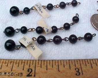 10 Vintage Necklace Extenders, Black Glass Beads, Made in Japan